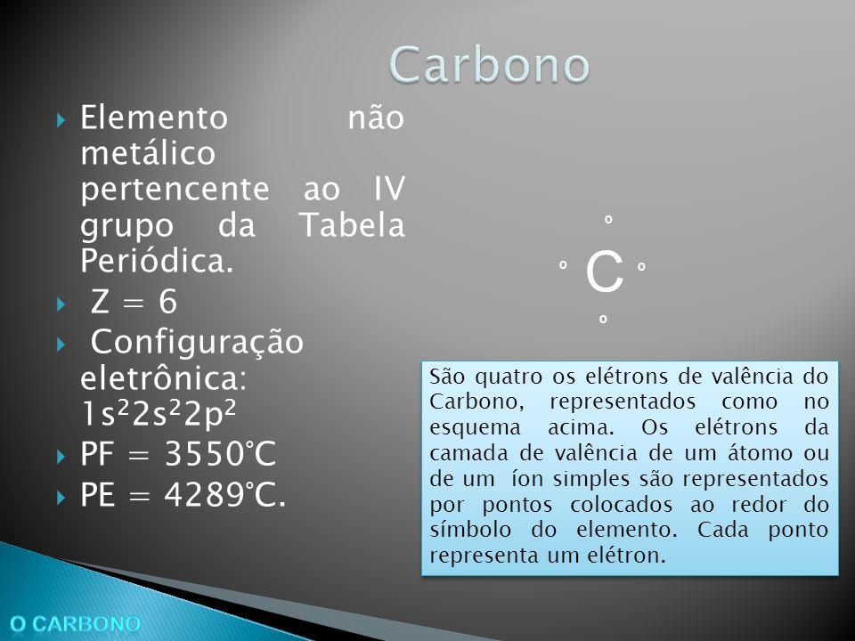 Carbono Elemento não metálico pertencente ao IV grupo da Tabela Periódica. Z = 6. Configuração eletrônica: 1s22s22p2.