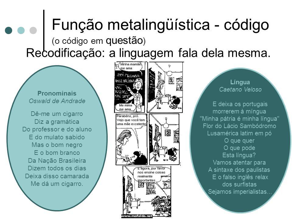 Função metalingüística - código (o código em questão)