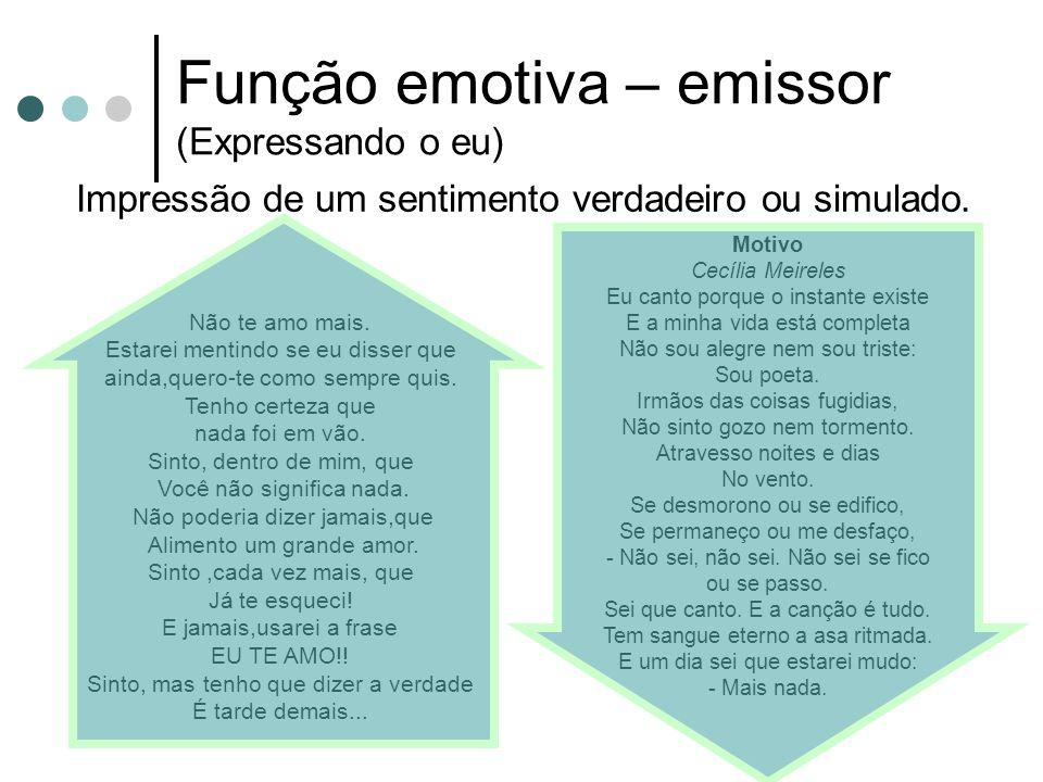 Função emotiva – emissor (Expressando o eu)