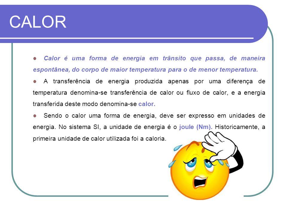 CALOR Calor é uma forma de energia em trânsito que passa, de maneira espontânea, do corpo de maior temperatura para o de menor temperatura.