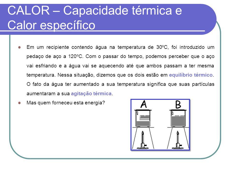CALOR – Capacidade térmica e Calor específico