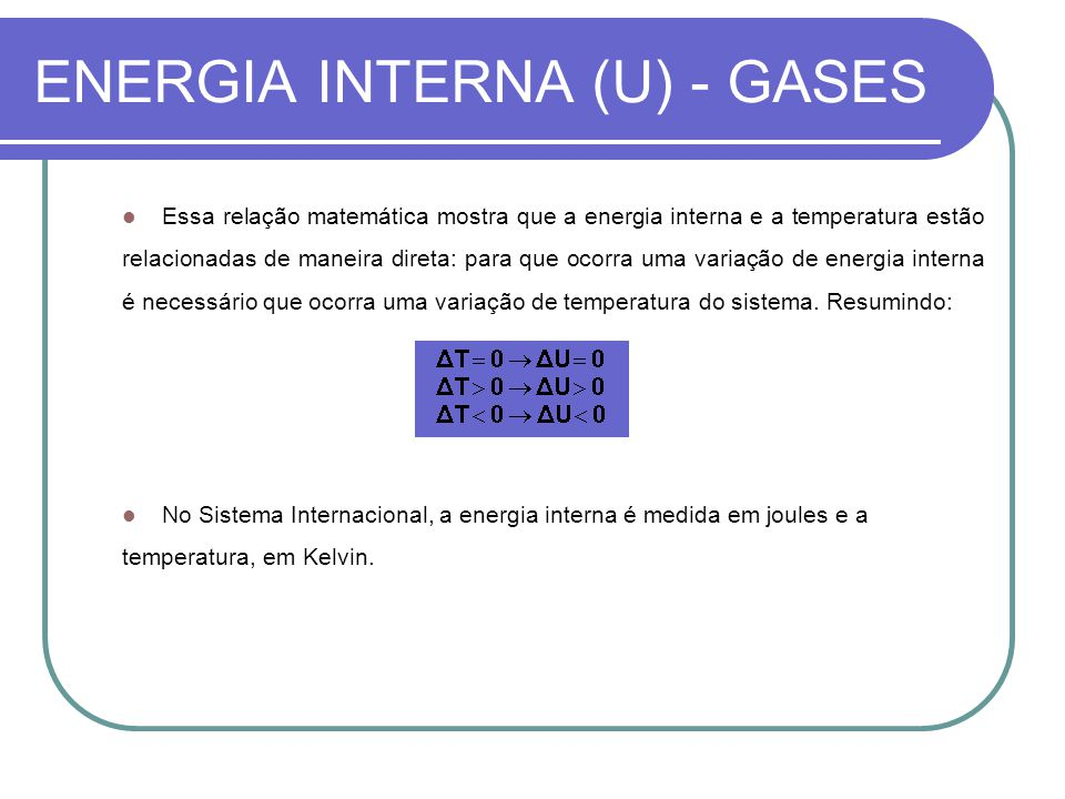 ENERGIA INTERNA (U) - GASES