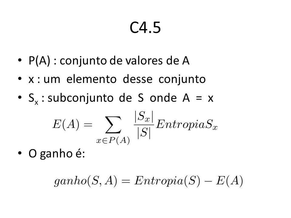 C4.5 P(A) : conjunto de valores de A x : um elemento desse conjunto