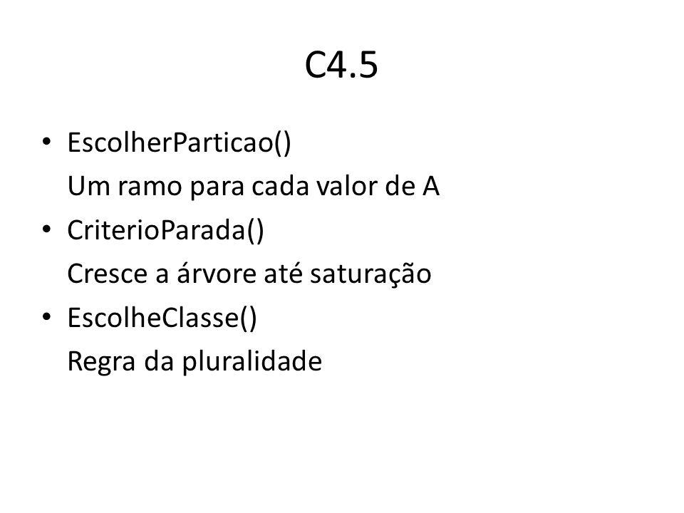 C4.5 EscolherParticao() Um ramo para cada valor de A CriterioParada()