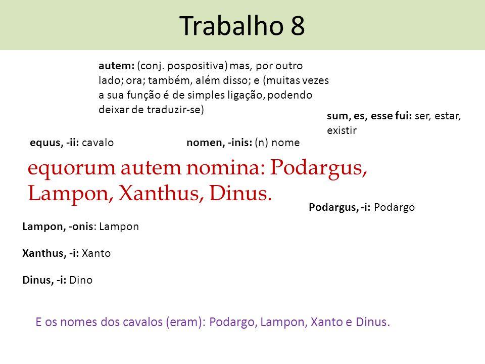 Trabalho 8 equorum autem nomina: Podargus, Lampon, Xanthus, Dinus.