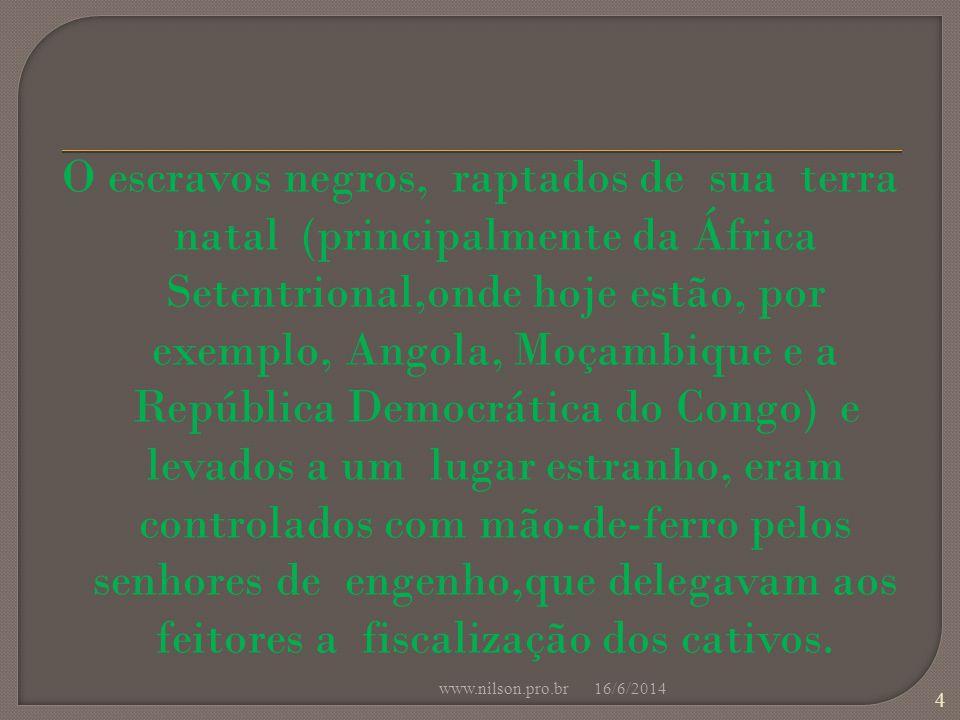 O escravos negros, raptados de sua terra natal (principalmente da África Setentrional,onde hoje estão, por exemplo, Angola, Moçambique e a República Democrática do Congo) e levados a um lugar estranho, eram controlados com mão-de-ferro pelos senhores de engenho,que delegavam aos feitores a fiscalização dos cativos.