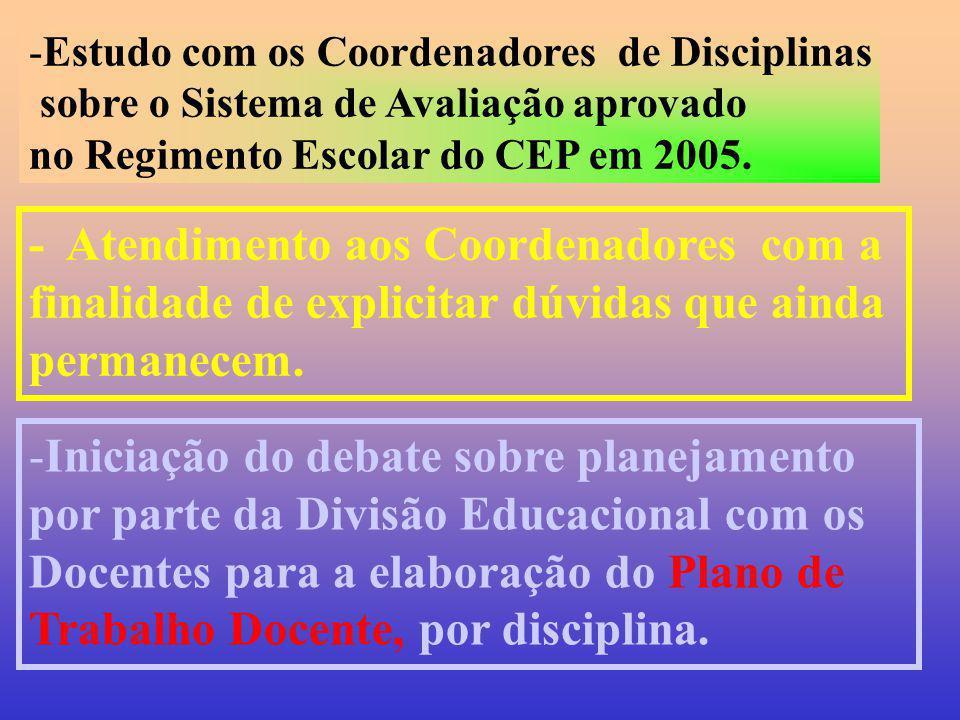 Estudo com os Coordenadores de Disciplinas