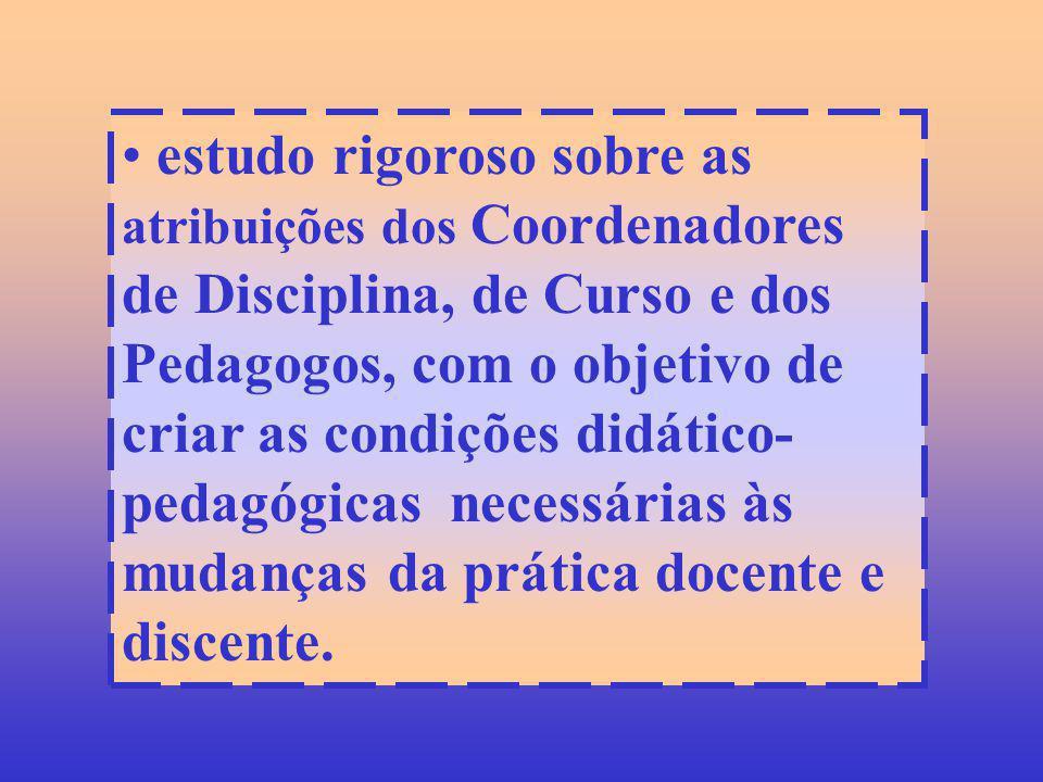 estudo rigoroso sobre as atribuições dos Coordenadores de Disciplina, de Curso e dos Pedagogos, com o objetivo de criar as condições didático-pedagógicas necessárias às mudanças da prática docente e discente.