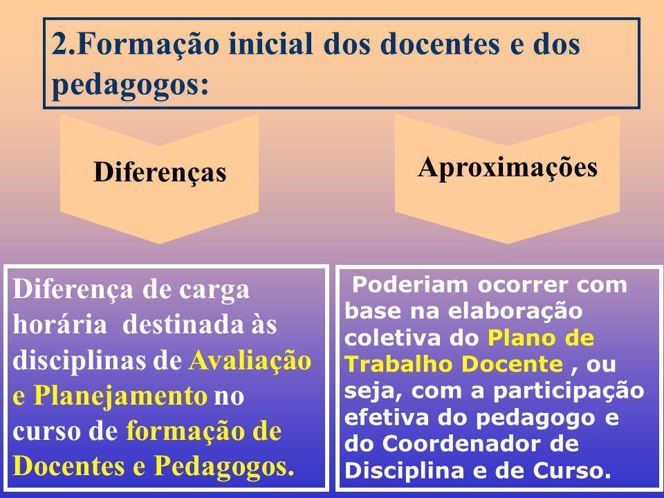 2.Formação inicial dos docentes e dos pedagogos:
