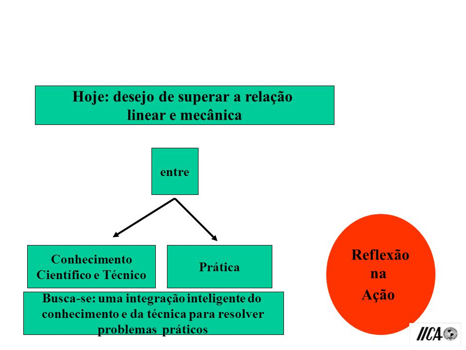 Hoje: desejo de superar a relação linear e mecânica Reflexão na