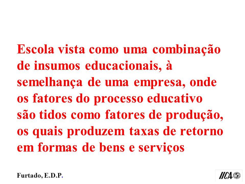Escola vista como uma combinação de insumos educacionais, à semelhança de uma empresa, onde os fatores do processo educativo são tidos como fatores de produção, os quais produzem taxas de retorno em formas de bens e serviços Furtado, E.D.P.