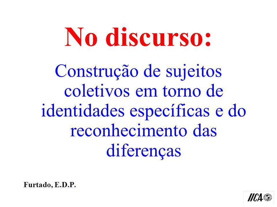 No discurso: Construção de sujeitos coletivos em torno de identidades específicas e do reconhecimento das diferenças.