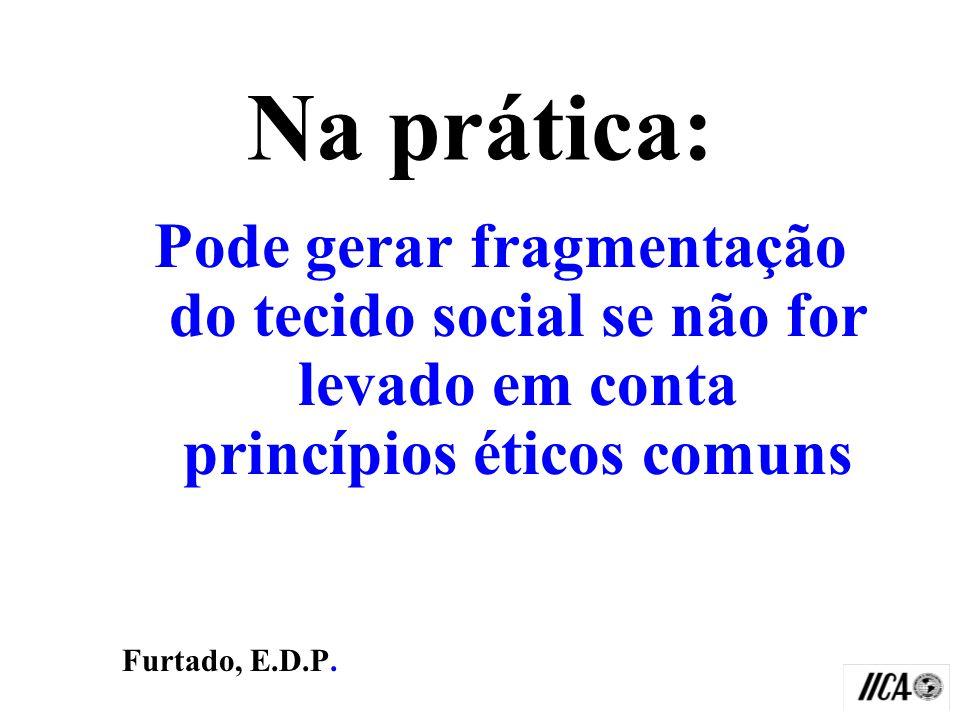 Na prática: Pode gerar fragmentação do tecido social se não for levado em conta princípios éticos comuns.