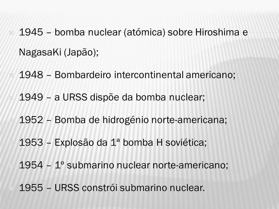 1945 – bomba nuclear (atómica) sobre Hiroshima e NagasaKi (Japão);