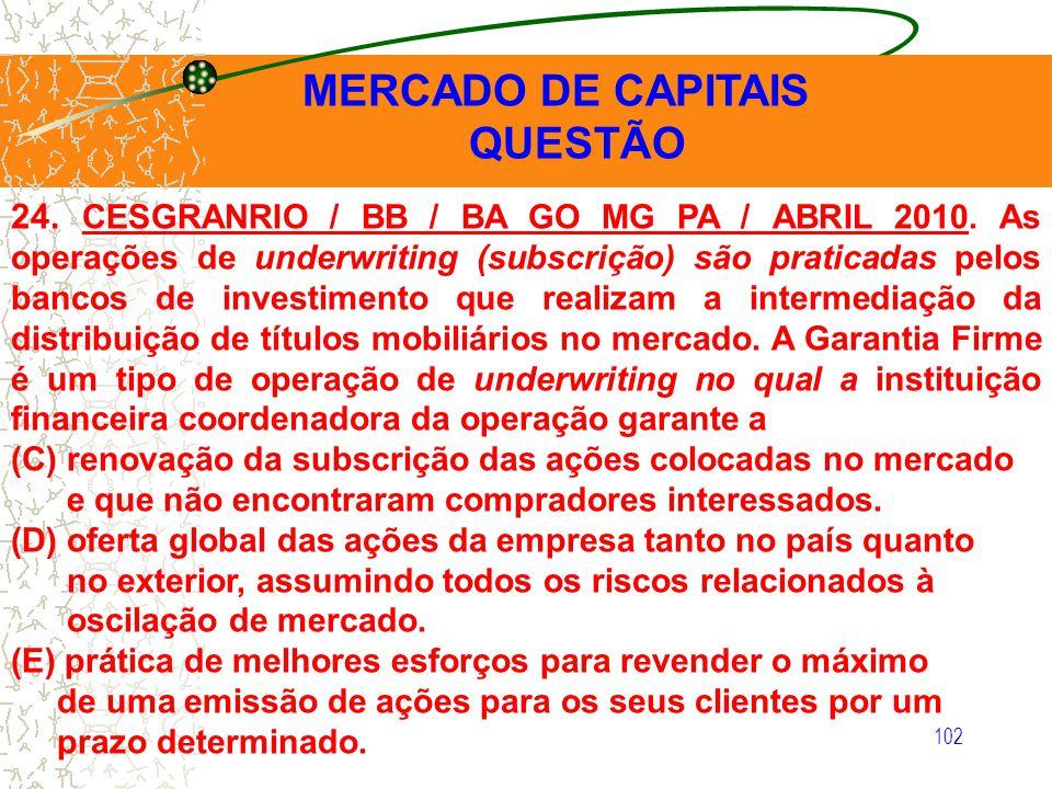 QUESTÃO MERCADO DE CAPITAIS