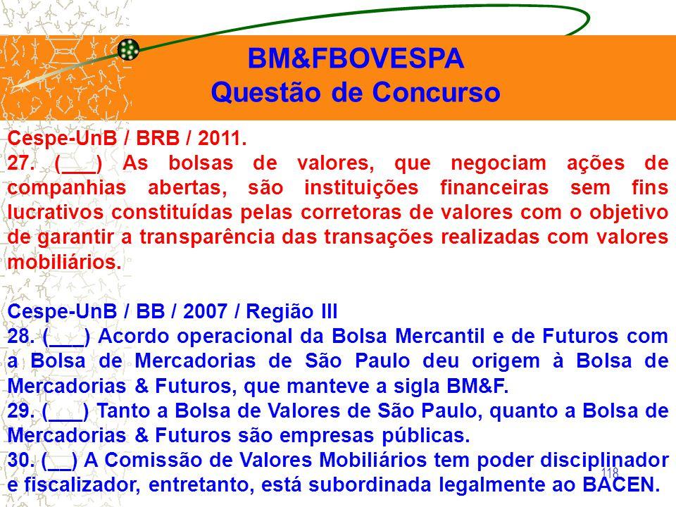 BM&FBOVESPA Questão de Concurso