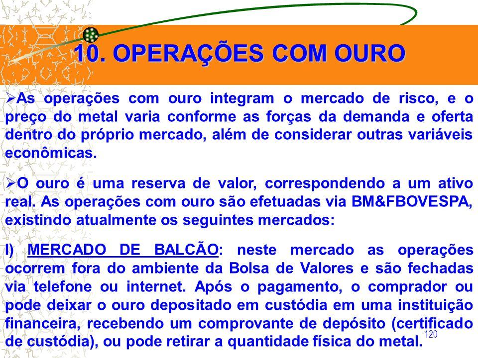 10. OPERAÇÕES COM OURO