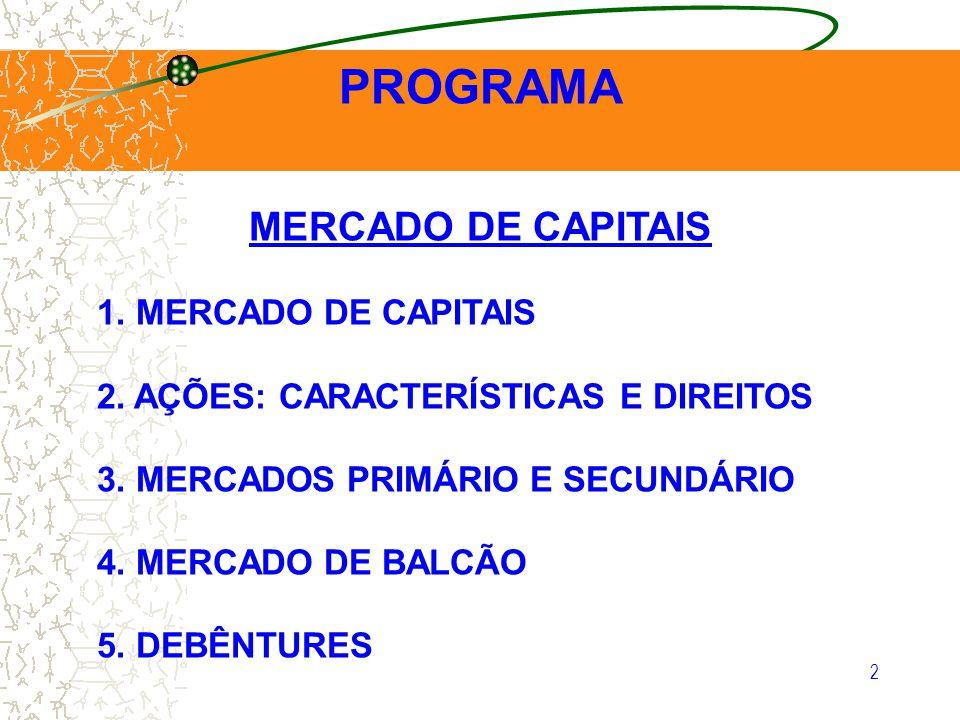 PROGRAMA MERCADO DE CAPITAIS 1. MERCADO DE CAPITAIS