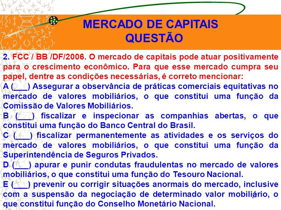 MERCADO DE CAPITAIS QUESTÃO