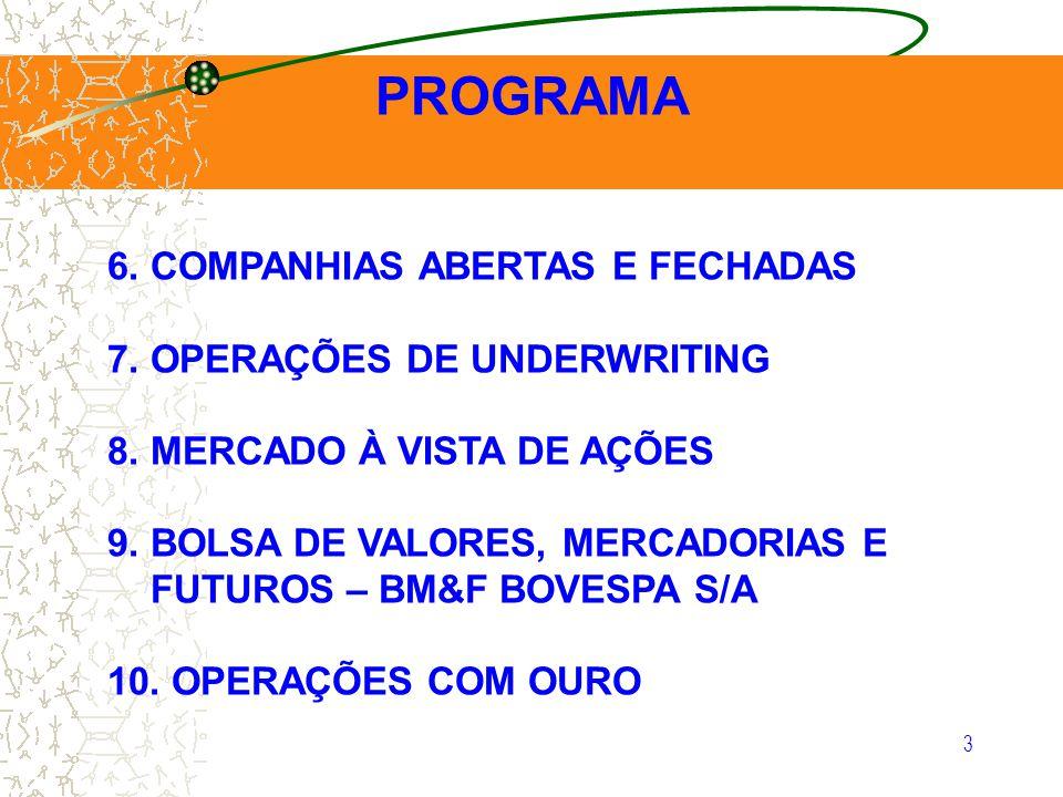 PROGRAMA 6. COMPANHIAS ABERTAS E FECHADAS 7. OPERAÇÕES DE UNDERWRITING