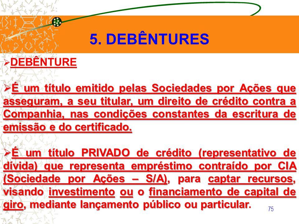 5. DEBÊNTURES DEBÊNTURE.