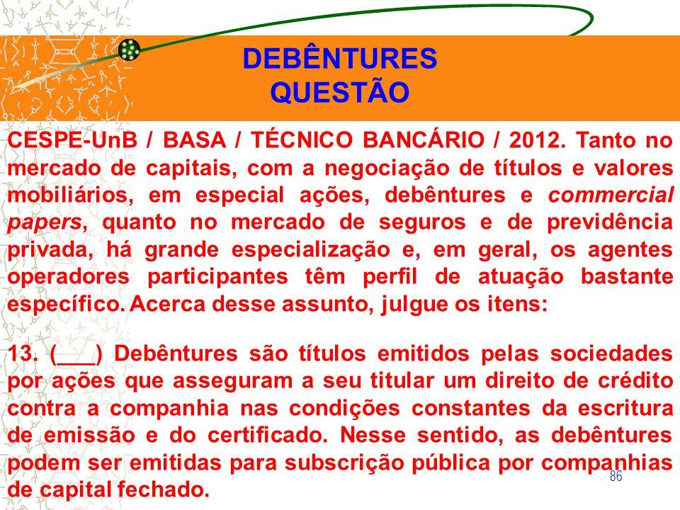 DEBÊNTURES QUESTÃO.
