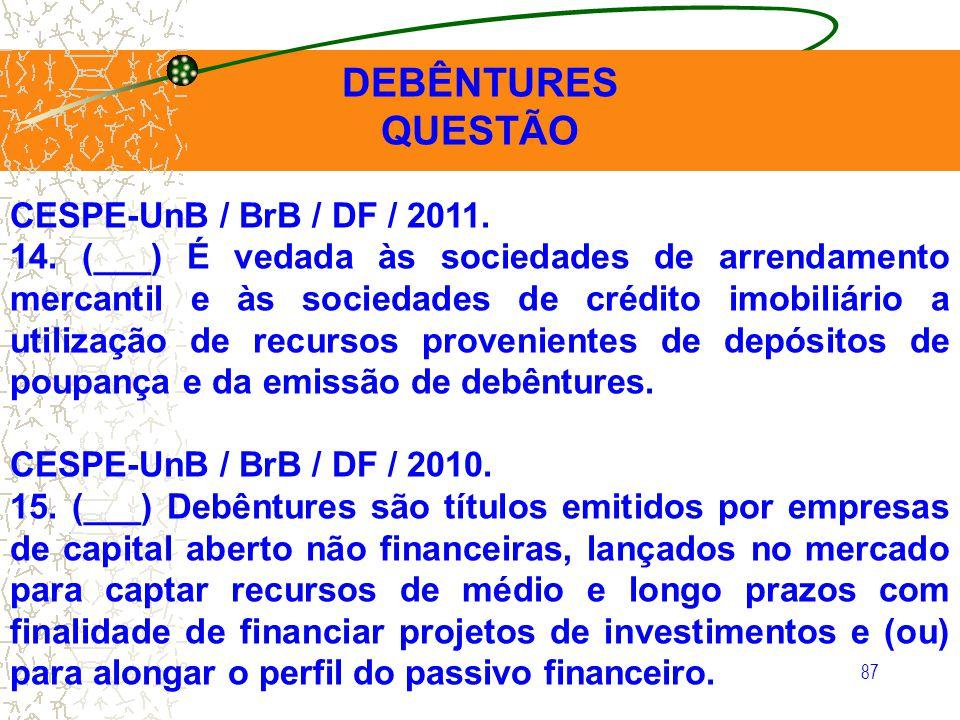 DEBÊNTURES QUESTÃO CESPE-UnB / BrB / DF / 2011.