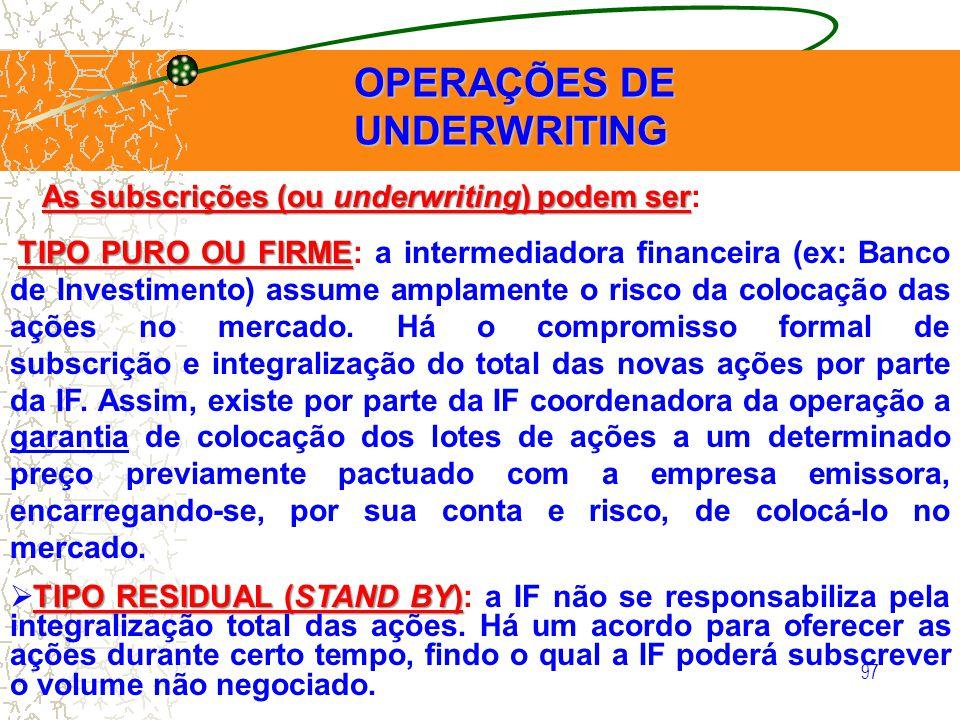OPERAÇÕES DE UNDERWRITING