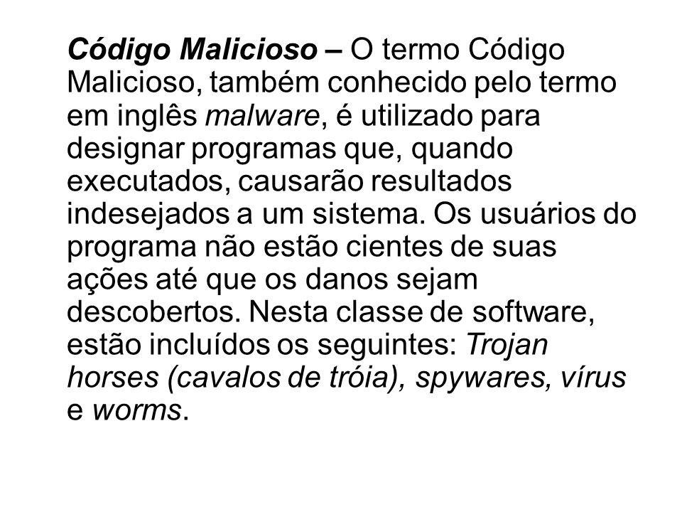 Código Malicioso – O termo Código Malicioso, também conhecido pelo termo em inglês malware, é utilizado para designar programas que, quando executados, causarão resultados indesejados a um sistema.