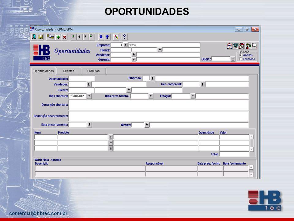 OPORTUNIDADES comercial@hbtec.com.br