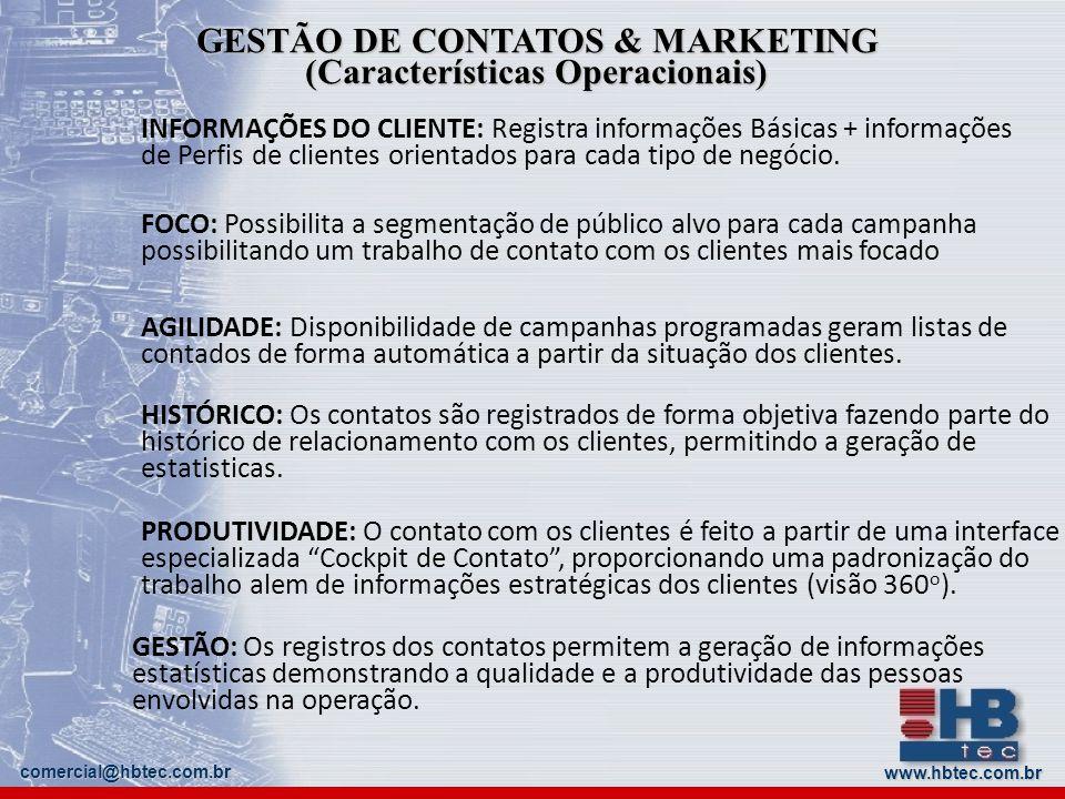 GESTÃO DE CONTATOS & MARKETING (Características Operacionais)