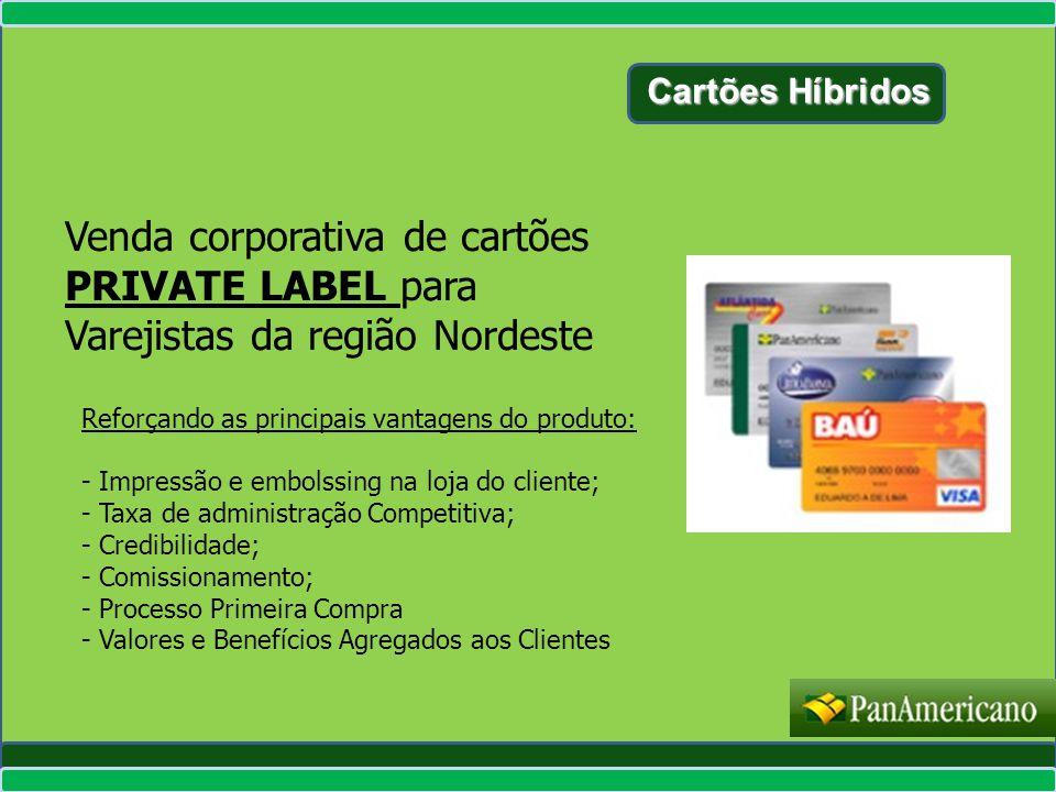 Cartões Híbridos Venda corporativa de cartões PRIVATE LABEL para Varejistas da região Nordeste. Reforçando as principais vantagens do produto: