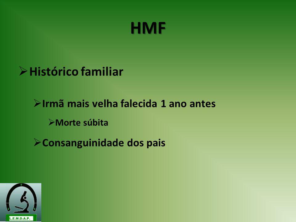 HMF Histórico familiar Irmã mais velha falecida 1 ano antes