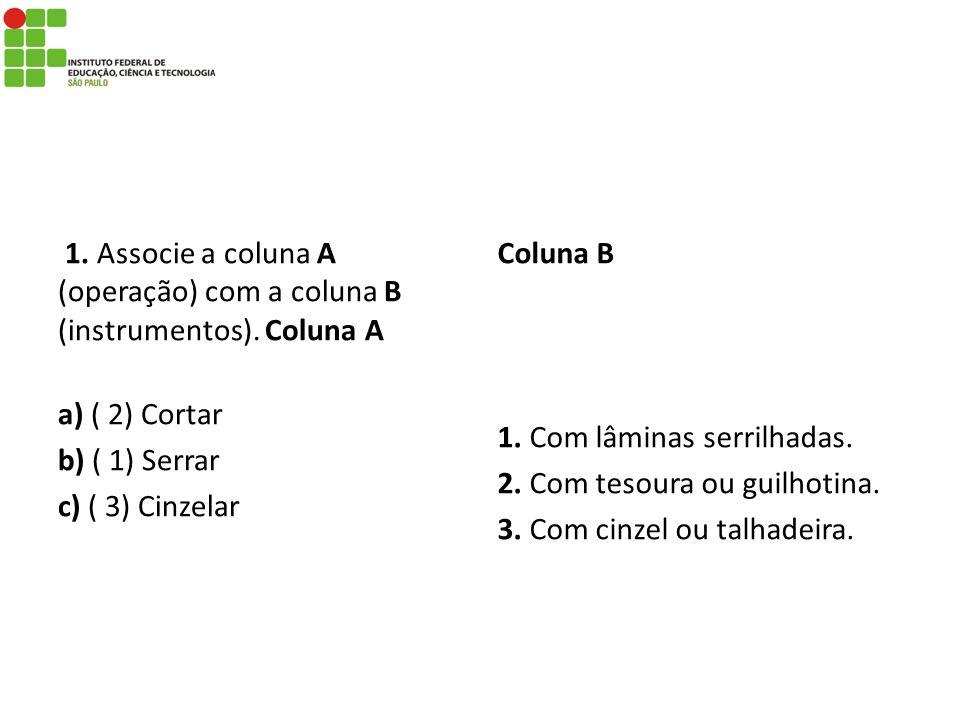 1. Associe a coluna A (operação) com a coluna B (instrumentos)