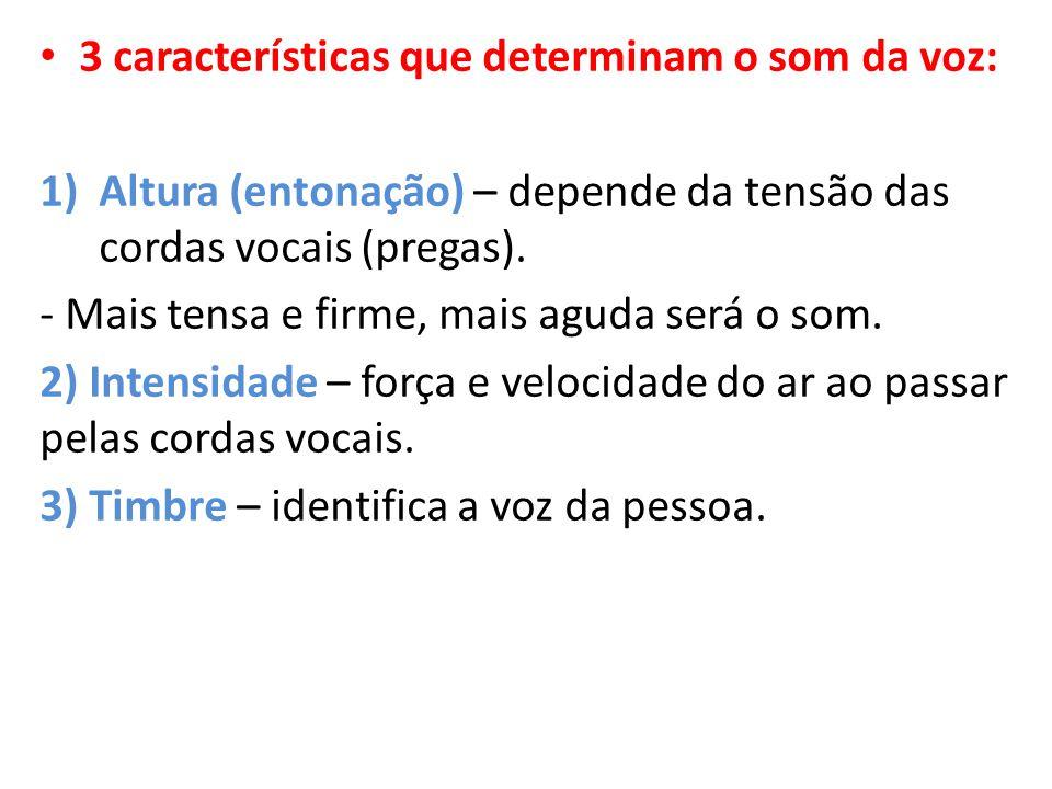 3 características que determinam o som da voz: