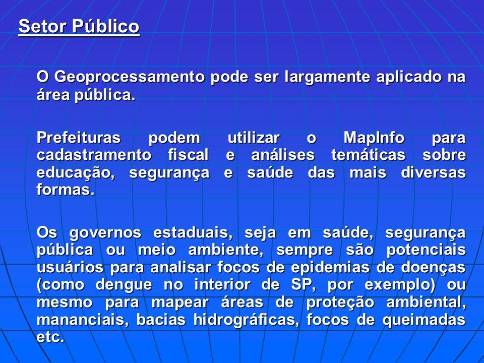O Geoprocessamento pode ser largamente aplicado na área pública.