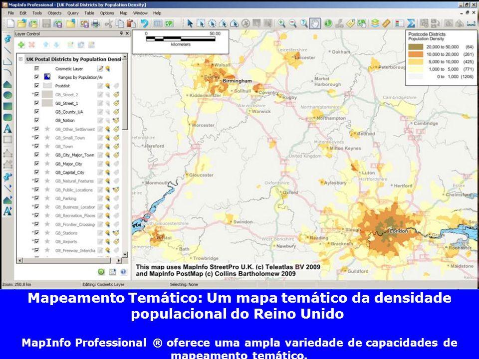 Mapeamento Temático: Um mapa temático da densidade populacional do Reino Unido