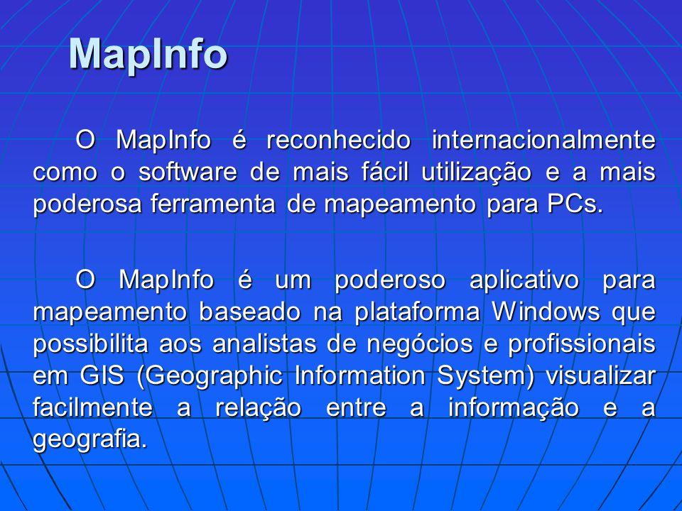 MapInfo O MapInfo é reconhecido internacionalmente como o software de mais fácil utilização e a mais poderosa ferramenta de mapeamento para PCs.
