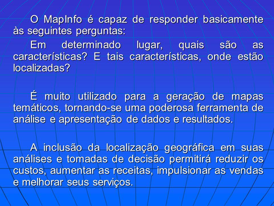 O MapInfo é capaz de responder basicamente às seguintes perguntas: