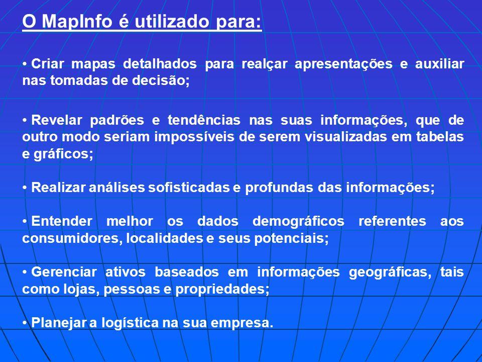 O MapInfo é utilizado para: