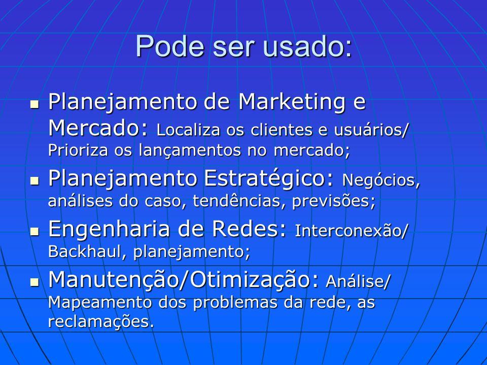Pode ser usado: Planejamento de Marketing e Mercado: Localiza os clientes e usuários/ Prioriza os lançamentos no mercado;