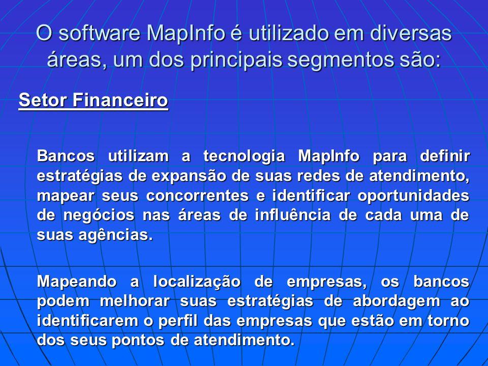 O software MapInfo é utilizado em diversas áreas, um dos principais segmentos são: