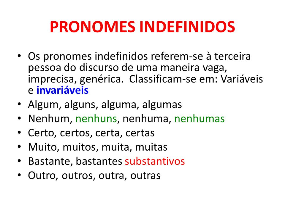 PRONOMES INDEFINIDOS