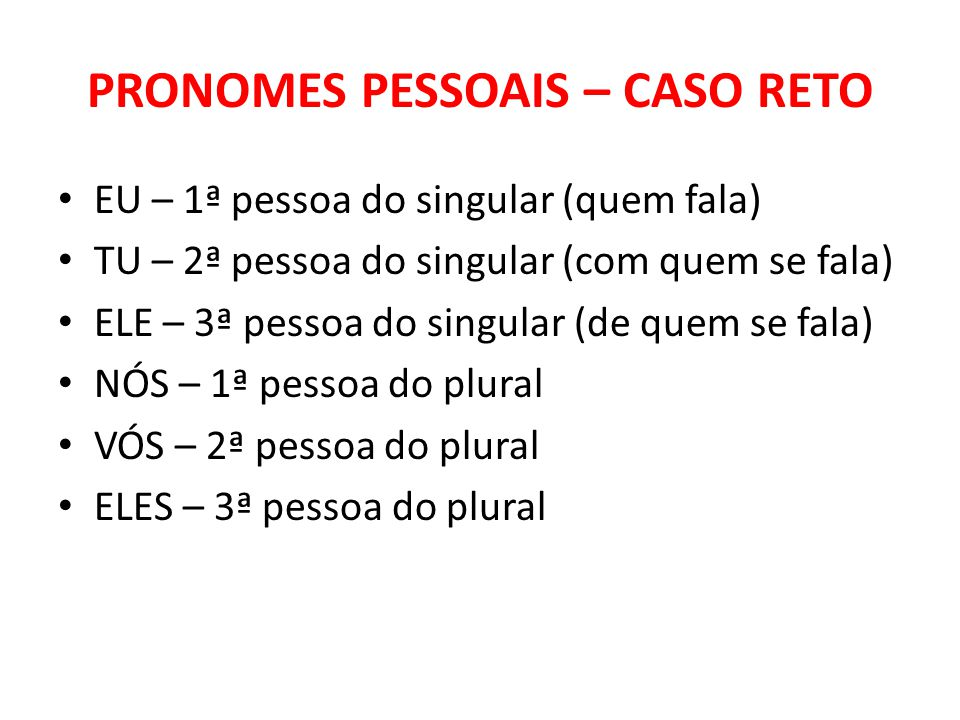 PRONOMES PESSOAIS – CASO RETO
