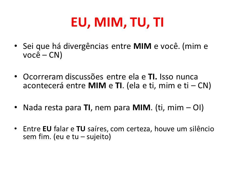 EU, MIM, TU, TI Sei que há divergências entre MIM e você. (mim e você – CN)