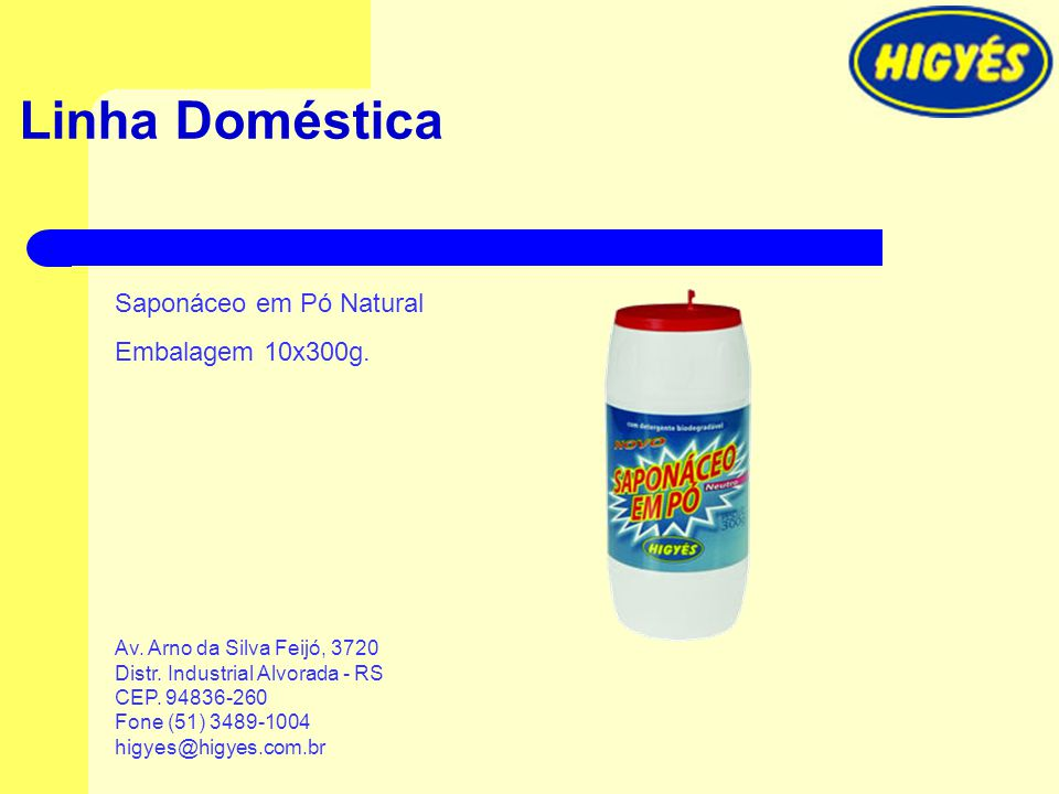 Linha Doméstica Saponáceo em Pó Natural Embalagem 10x300g.