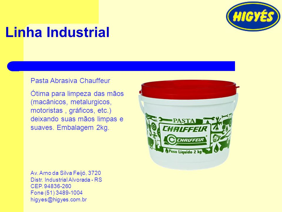 Linha Industrial Pasta Abrasiva Chauffeur