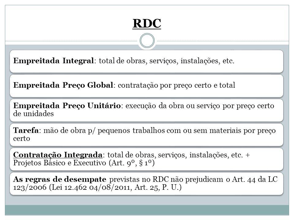 RDC Empreitada Integral: total de obras, serviços, instalações, etc.