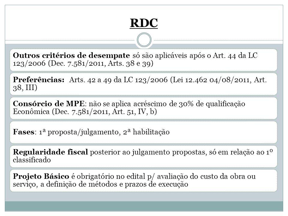 RDC Outros critérios de desempate só são aplicáveis após o Art. 44 da LC 123/2006 (Dec. 7.581/2011, Arts. 38 e 39)