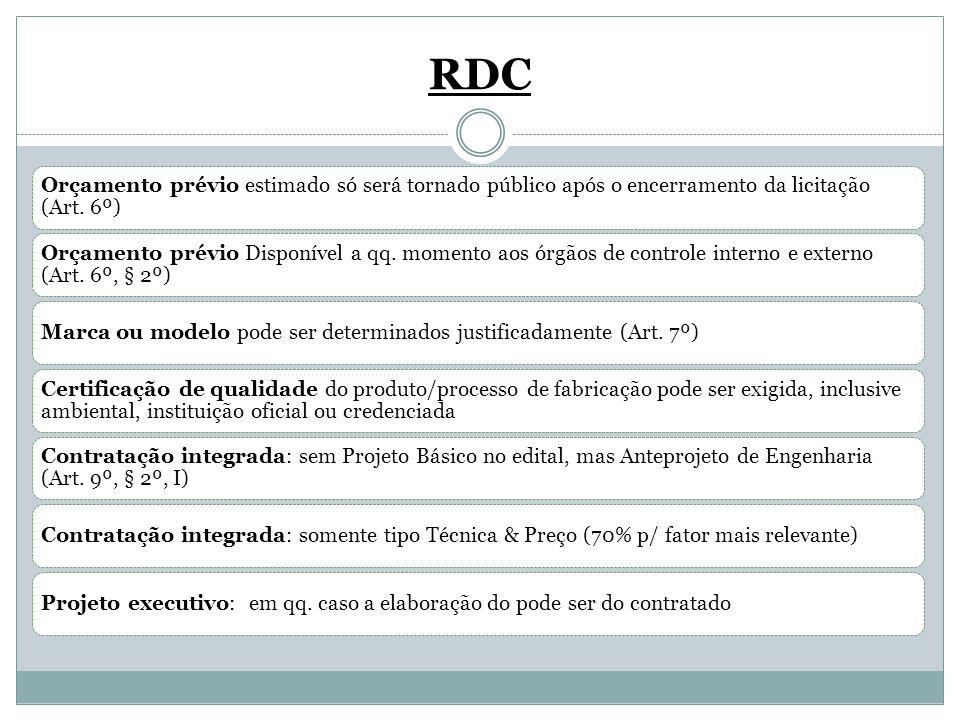 RDC Orçamento prévio estimado só será tornado público após o encerramento da licitação (Art. 6º)